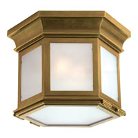 Chart House 3 Light 10 inch Antique Brass Outdoor Flush Mount in Frosted Glass