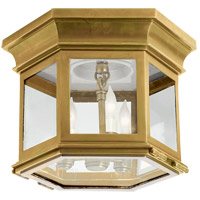 E. F. Chapman Club 3 Light 10 inch Antique Brass Outdoor Flush Mount in Clear Glass