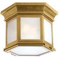 E. F. Chapman Club 3 Light 10 inch Antique Brass Outdoor Flush Mount in Frosted Glass