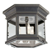 E.F. Chapman Club 3 Light 10 inch Bronze Outdoor Flush Mount in Clear Glass