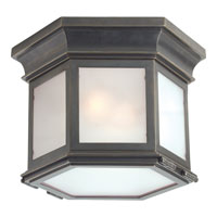 E.F. Chapman Club 3 Light 10 inch Bronze Outdoor Flush Mount in Frosted Glass