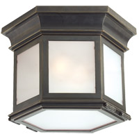 Visual Comfort CHO4110BZ-FG E. F. Chapman Club 3 Light 10 inch Bronze Outdoor Flush Mount in Frosted Glass