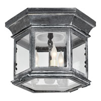 E. F. Chapman Club 3 Light 10 inch Weathered Zinc Outdoor Flush Mount in Clear Glass