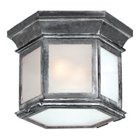 E. F. Chapman Club 3 Light 10 inch Weathered Zinc Outdoor Flush Mount in Frosted Glass