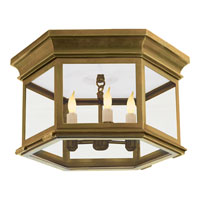 Visual Comfort Chart House Large Club Hexagonal Flush Mount in Antique-Burnished Brass with Clear Glass CHO4111AB-CG