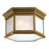 Chart House 3 Light 16 inch Antique Brass Outdoor Flush Mount in Frosted Glass