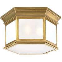 E. F. Chapman Club 3 Light 16 inch Antique Brass Outdoor Flush Mount in Frosted Glass