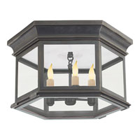 E.F. Chapman Club 3 Light 16 inch Bronze Outdoor Flush Mount in Clear Glass