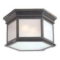 E.F. Chapman Club 3 Light 16 inch Bronze Outdoor Flush Mount in Frosted Glass