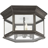 E. F. Chapman Club 3 Light 16 inch Bronze Outdoor Flush Mount in Clear Glass