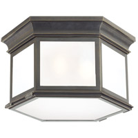 Visual Comfort CHO4111BZ-FG E. F. Chapman Club 3 Light 16 inch Bronze Outdoor Flush Mount in Frosted Glass