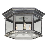 E.F. Chapman Club 3 Light 16 inch Weathered Zinc Outdoor Flush Mount in Clear Glass