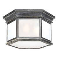 E. F. Chapman Club 3 Light 16 inch Weathered Zinc Outdoor Flush Mount in Frosted Glass