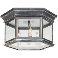 E. F. Chapman Club 3 Light 16 inch Weathered Zinc Outdoor Flush Mount in Clear Glass