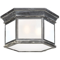 Visual Comfort CHO4111WZ-FG E. F. Chapman Club 3 Light 16 inch Weathered Zinc Outdoor Flush Mount in Frosted Glass