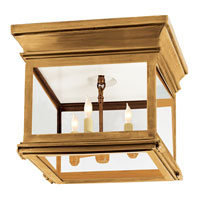 Visual Comfort Chart House Small Club Square Flush Mount in Antique-Burnished Brass with Clear Glass CHO4310AB-CG