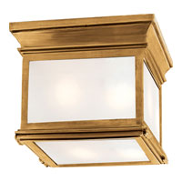 Visual Comfort Chart House Small Club Square Flush Mount in Antique-Burnished Brass with Frosted Glass CHO4310AB-FG