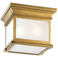 Visual Comfort CHO4310AB-FG E. F. Chapman Club 3 Light 9 inch Antique Brass Outdoor Flush Mount in Frosted Glass