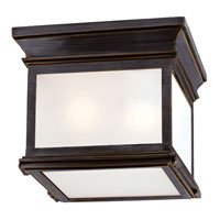 E. F. Chapman Club 3 Light 9 inch Bronze Outdoor Flush Mount in Frosted Glass