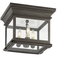 Visual Comfort CHO4310BZ-CG E. F. Chapman Club 3 Light 9 inch Bronze Outdoor Flush Mount in Clear Glass