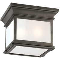 Visual Comfort CHO4310BZ-FG E. F. Chapman Club 3 Light 9 inch Bronze Outdoor Flush Mount in Frosted Glass