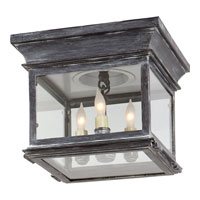 E. F. Chapman Club 3 Light 9 inch Weathered Zinc Outdoor Flush Mount in Clear Glass