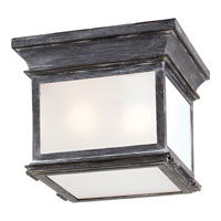 E. F. Chapman Club 3 Light 9 inch Weathered Zinc Outdoor Flush Mount in Frosted Glass
