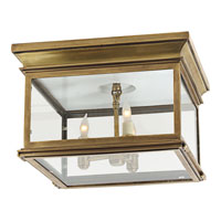 Visual Comfort Chart House Large Club Square Flush Mount in Antique-Burnished Brass with Clear Glass CHO4311AB-CG