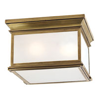 Visual Comfort Chart House Large Club Square Flush Mount in Antique-Burnished Brass with Frosted Glass CHO4311AB-FG