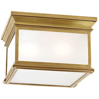 E. F. Chapman Club 3 Light 13 inch Antique Brass Outdoor Flush Mount in Frosted Glass