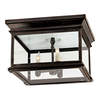 Visual Comfort CHO4311BZ-CG E. F. Chapman Club 3 Light 13 inch Bronze Outdoor Flush Mount in Clear Glass