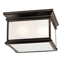 E. F. Chapman Club 3 Light 13 inch Bronze Outdoor Flush Mount in Frosted Glass