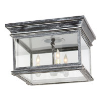 E.F. Chapman Club 3 Light 13 inch Weathered Zinc Outdoor Flush Mount in Clear Glass