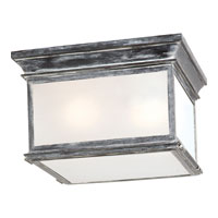 E.F. Chapman Club 3 Light 13 inch Weathered Zinc Outdoor Flush Mount in Frosted Glass