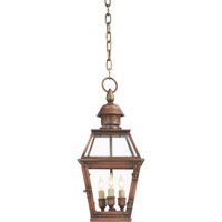 Visual Comfort E.F. Chapman Pimlico 3 Light Outdoor Hanging Lantern in Natural Copper CHO5080NC