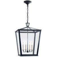 Visual Comfort E.F. Chapman Darlanao 4 Light Outdoor Hanging Lantern in Bronze with Clear Glass Shade CHO5085BZ