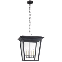 E. F. Chapman Cornice 4 Light 20 inch Blackened Copper Outdoor Hanging Lantern, E.F. Chapman, Large, Clear Glass