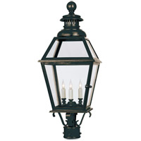 Visual Comfort E.F. Chapman Chelsea 3 Light Outdoor Post Lantern in Bronze with Wax CHO7111BZ