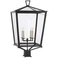 Visual Comfort E.F. Chapman Darlanao 4 Light Post Lantern in Bronze with Clear Glass Shade CHO7113BZ