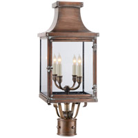 E. F. Chapman Bedford 4 Light 25 inch Natural Copper Post Lantern, E.F. Chapman, Clear Glass