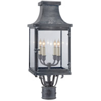E.F. Chapman Bedford 4 Light 25 inch Weathered Zinc Post Lantern, E.F. Chapman, Clear Glass
