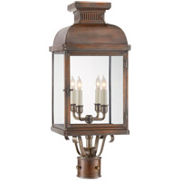 E. F. Chapman Suffork 4 Light 24 inch Natural Copper Post Lantern, E.F. Chapman, Clear Glass