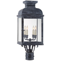 E. F. Chapman Suffork 4 Light 24 inch Weathered Zinc Post Lantern, E.F. Chapman, Clear Glass