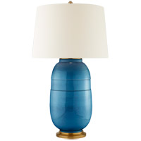 Christopher Spitzmiller Newcomb 37 inch 100 watt Aqua Crackle Table Lamp Portable Light