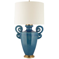 Christopher Spitzmiller Ralphaeli 36 inch 100 watt Aqua Crackle Table lamp Portable Light, Large Handled