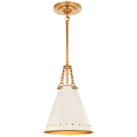 Visual Comfort CS5300NB-AWT Christopher Spitzmiller Hadley 1 Light 10 inch Natural Brass Pendant Ceiling Light in Antique White Tole
