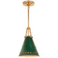 Christopher Spitzmiller Hadley 1 Light 10 inch Natural Brass Pendant Ceiling Light in Dark Green Tole