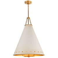 Visual Comfort CS5301NB-AWT Christopher Spitzmiller Hadley 4 Light 24 inch Natural Brass Pendant Ceiling Light in Antique White Tole