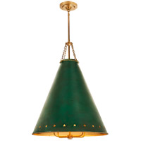 Visual Comfort CS5301NB-DGT Christopher Spitzmiller Hadley 4 Light 24 inch Natural Brass Pendant Ceiling Light in Dark Green Tole