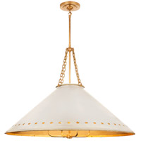 Visual Comfort CS5302NB-AWT Christopher Spitzmiller Hadley 4 Light 38 inch Natural Brass Pendant Ceiling Light in Antique White Tole